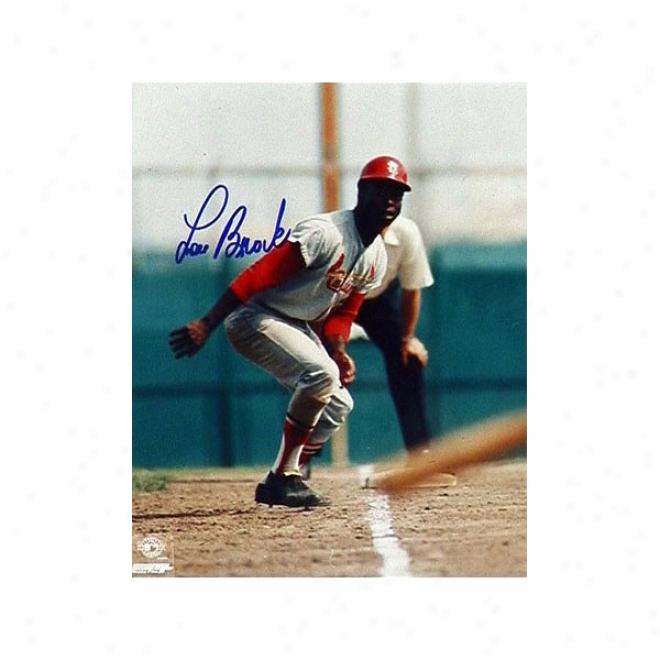 Lou Brock S.t Louis Cardinals Autographed 8x10 Photograph W/ Inscription &quothof 85&quot