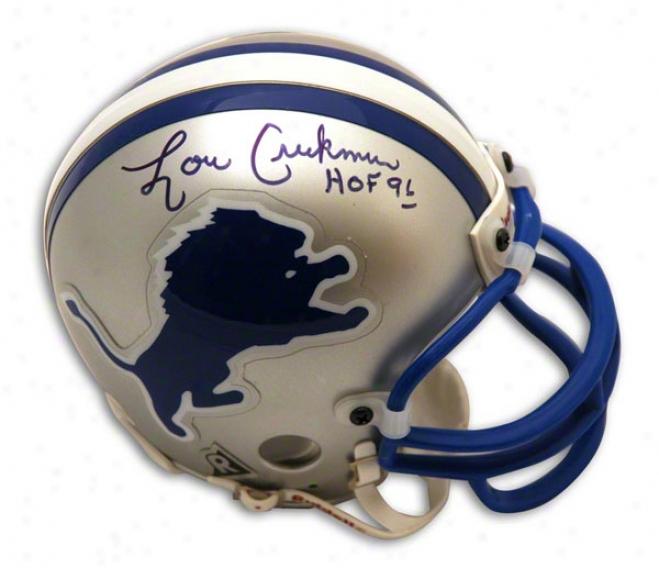 Lou Creekmur Atuographed Detroit Lions Mini Helmet Inscribed Hof 96