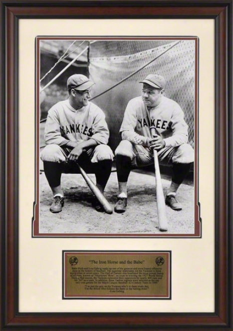 Lou Gehrig And Babe Ruth New York Yankeez Framed 16x20 Photograph With Plate