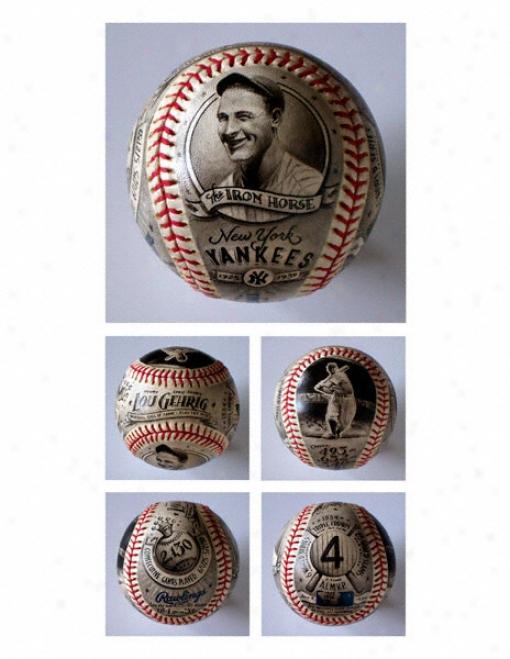 Lou Gehrig New York Yankees Hand Painted Basebal l- By Mike Floyd
