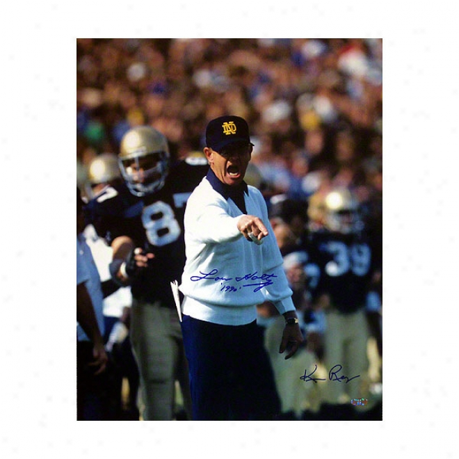 Lou Holtz Notre Dame Fighting Irish 16x20 1990 Autographed Photograph