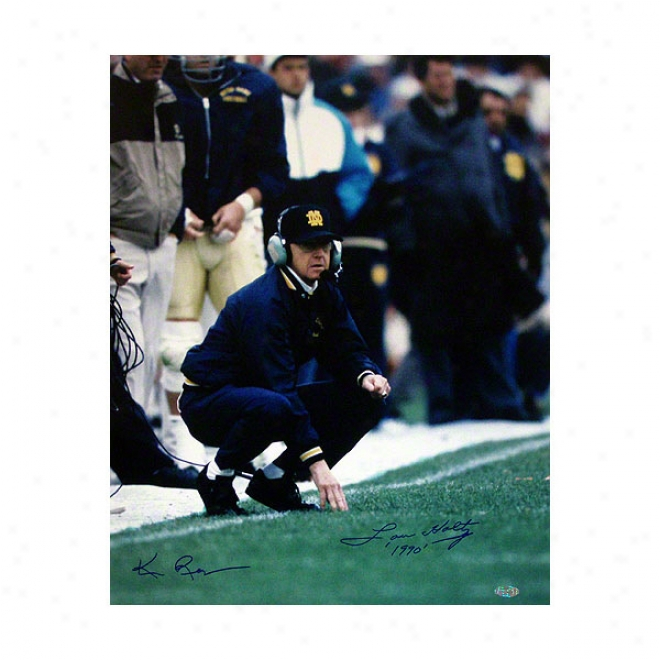 Lou Holtz Notre Dame Fighting Irish 16x20 Crouching On Sideline Autographed Photograph