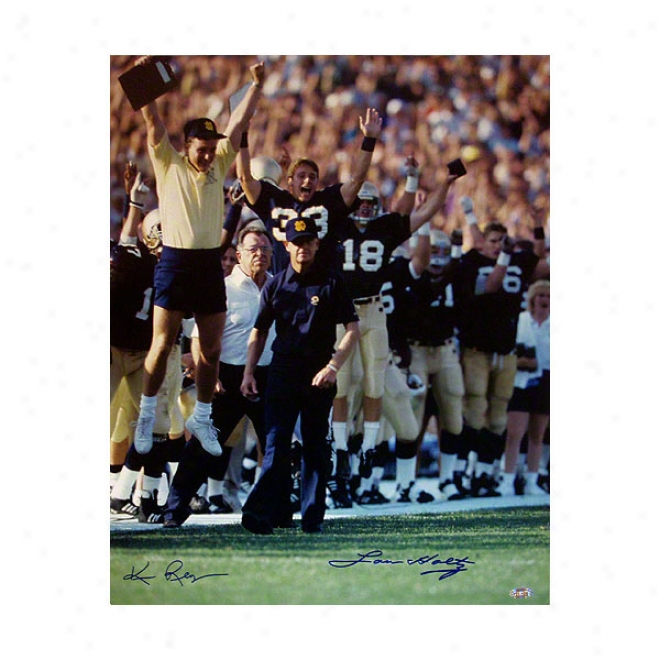 Lou Holtz Notre Dame Fighting Irish 16x20 Walking Down Sideline Autographed Photograph