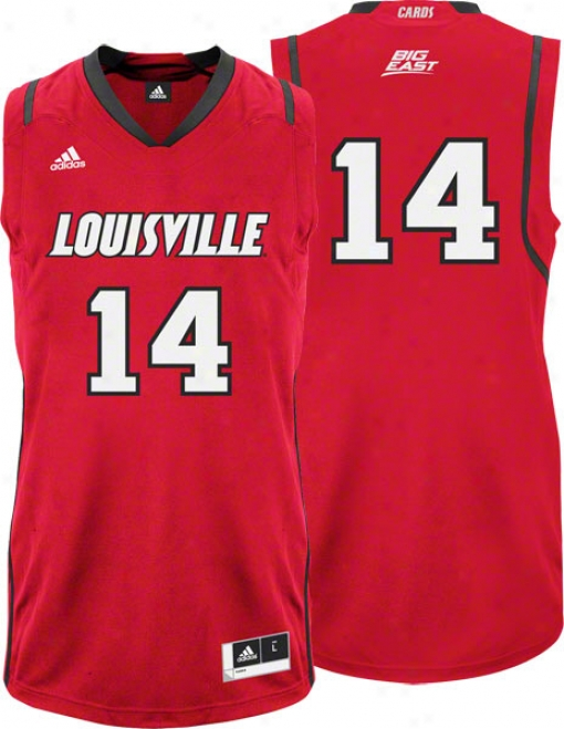Louisville Cardinals Adidas #14 Road Red Autograph copy Basketball Jersey