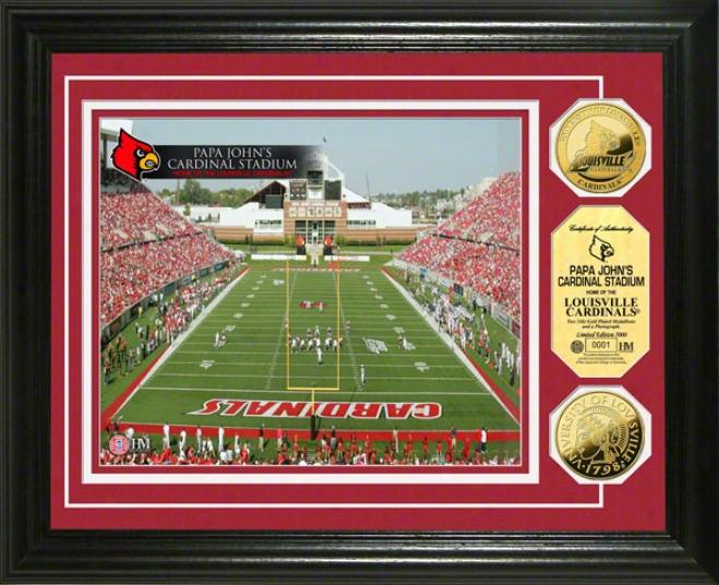 Louisville Cardinals Papa John's Cardinals Stadium 24kt Gold Coin Photo Mint