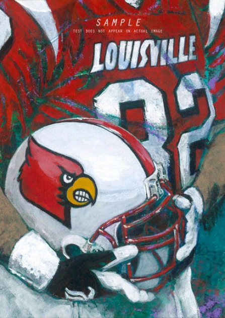 Louisville Cardinals - &quotu Of L Helmet Series&quot - Large - Unframed Giclee