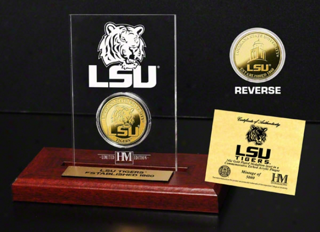 Lsu Tigers 24kt Gold Coin In Etched Acrylic