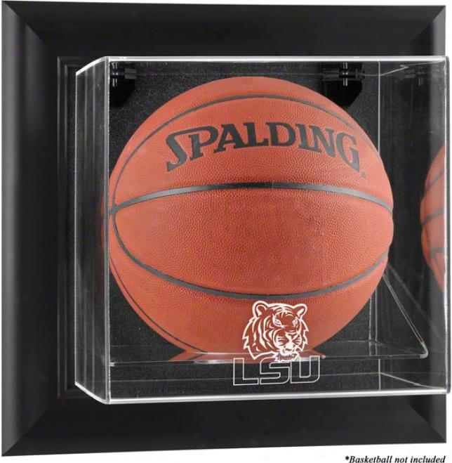 Lsu Tigers Framed Wall Mounted Logo Basketbzll Display Case