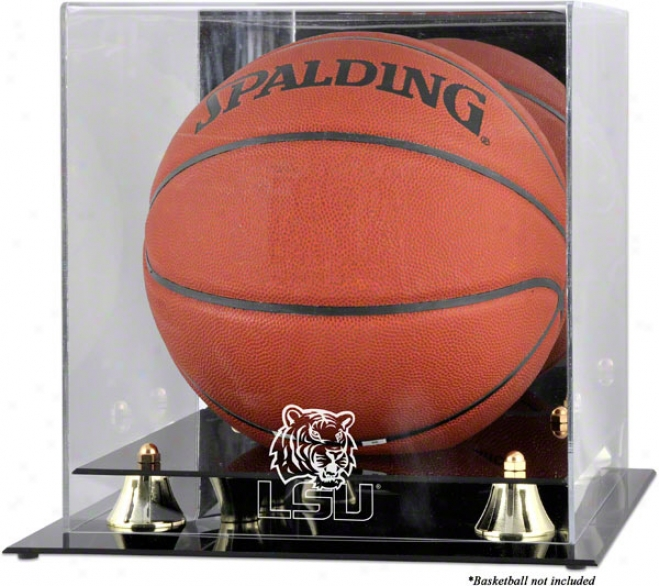 Lsu Tigers Golden Classic Logo Basketball Exhibition Case With Mirror Back
