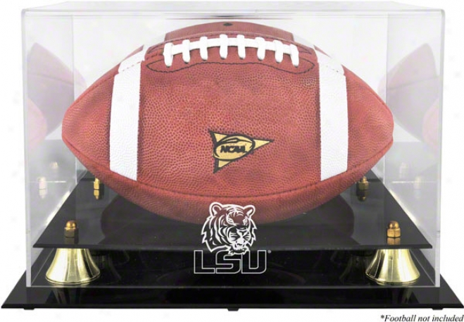 Lsu Tigers Golden Classic Logo Football Display Case W/ Mirror Back