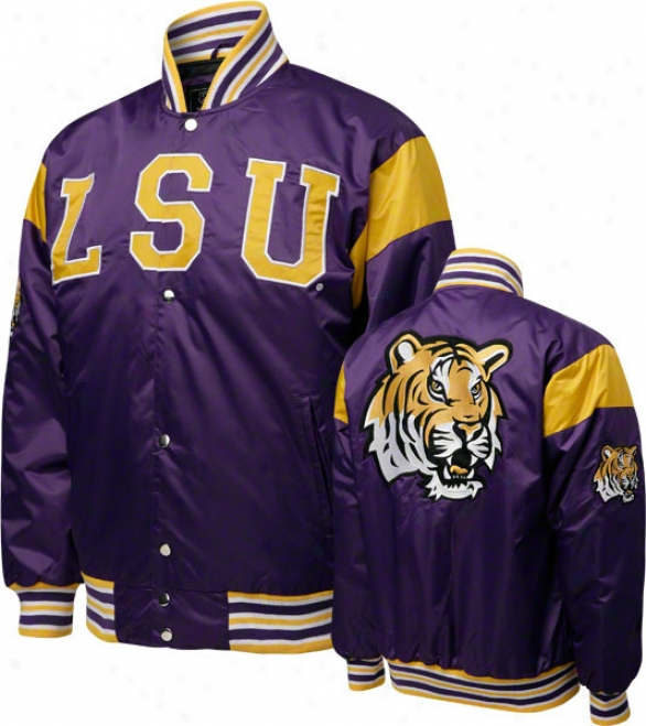 Lsu Tigers Purple Nylon Satin Jacket
