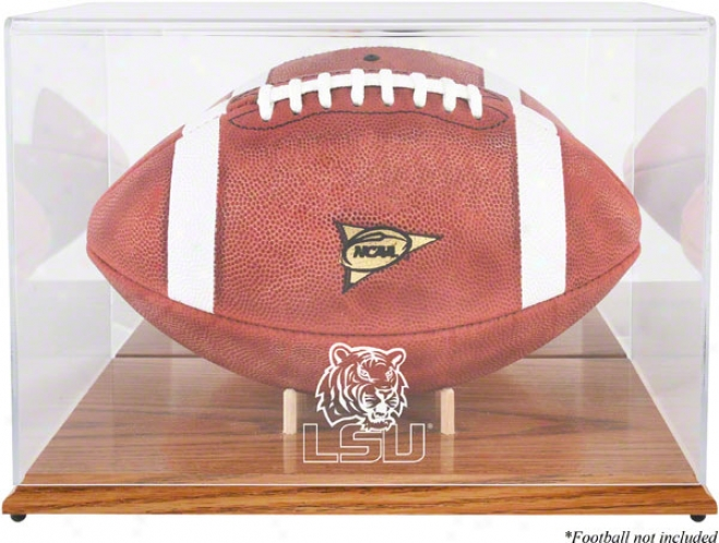 Lsu Tigers Team Logo Football Exhibit Case  Details: Oak Base