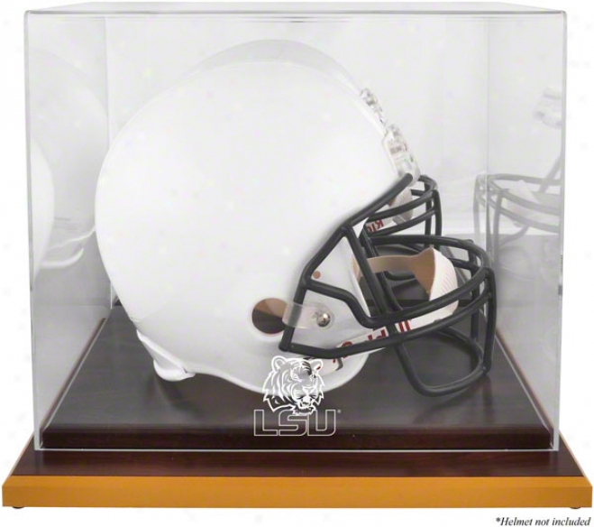 Lsu Tigers Woodbase Logo Helmet Display Case W/ Mirror Backward