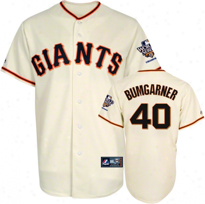 Madison Bumgarner Jersey: San Francisco Giants #40 Home Replica Jersey With 2010 World Series Champs Patch