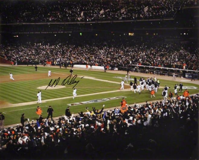 Magglio Ordonez Detroit Tigers - Alcs Walk-off Hr - Autographed Celebration 16x20 Photo