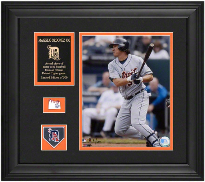 Magglio Ordonez Detroit Tigers Framed 8x10 Photograph In the opinion of Team Medallion, Courageous Used Baseball Piece And Descriptive Lamina