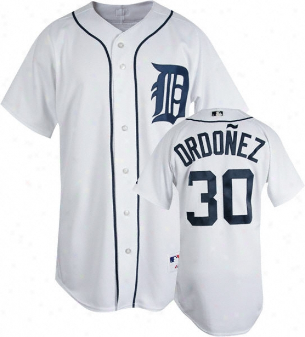 Magglio Ordonez White Majestic Authentic Home On-field Detroit Tigers Jersey