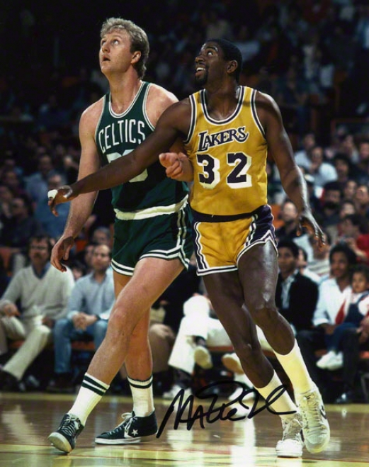 Magic Johnson Los Angeels Lakers Autographed 8x10 W/larry Bird Pho5o