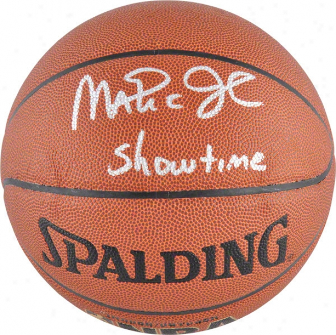 Magic Johnson Los Angeles Lakers Autographed Indoor/outdoor Basketball W/ &quotshowtime&quot Inscription
