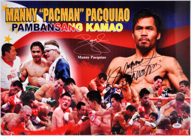 Manny Pacquiao Autographed 15x21 Photograph  Details: Fight Collage Photo
