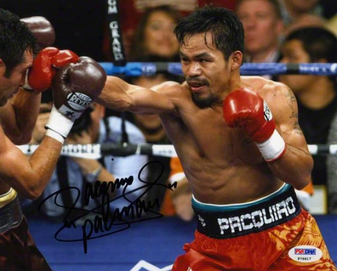 Manny Padquiao Autgoraphed 8x10 Photograph  Detwilz: Fighting Oscar De Exorcise Hoya