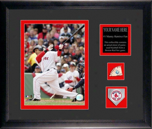 Manny Ramirez Boston Red Sox Framrd 6x8 Photograph With Personalized Plate, Game Used Baseballl Piece And Team Medallion
