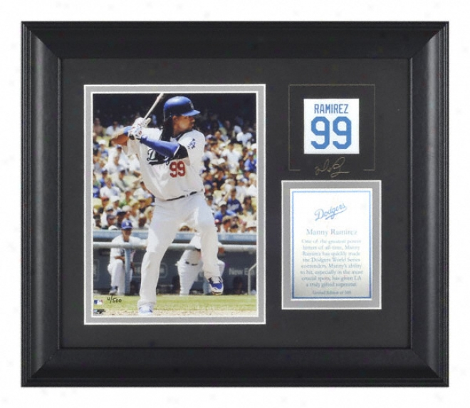 Manny Ramirez Los Angeles Dodgers Framed 6x8 Photograph With Facsimile Signature And Plate