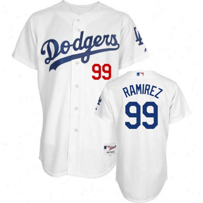 Manny Ramirez White Majestic Authentic Home On-field Los Angeles Dodgers Jersey