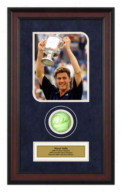 Marat Safin 2000 Us Unenclosed Framed Autographed Tennis Ball With Photo