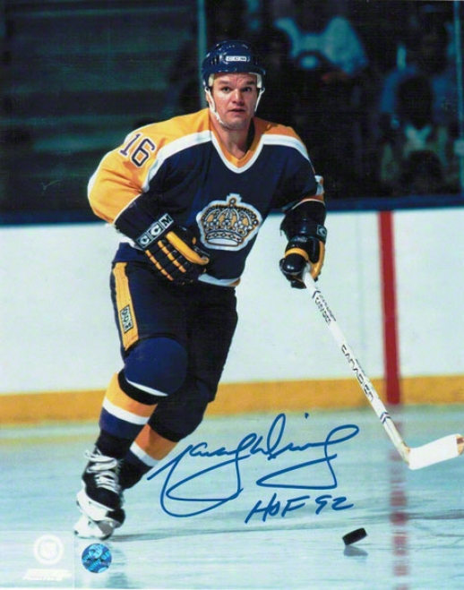 Marcel Dionne Los Angeles Kings Autographed 8x10 Photo Blue Jersey Inscribed Hof 92