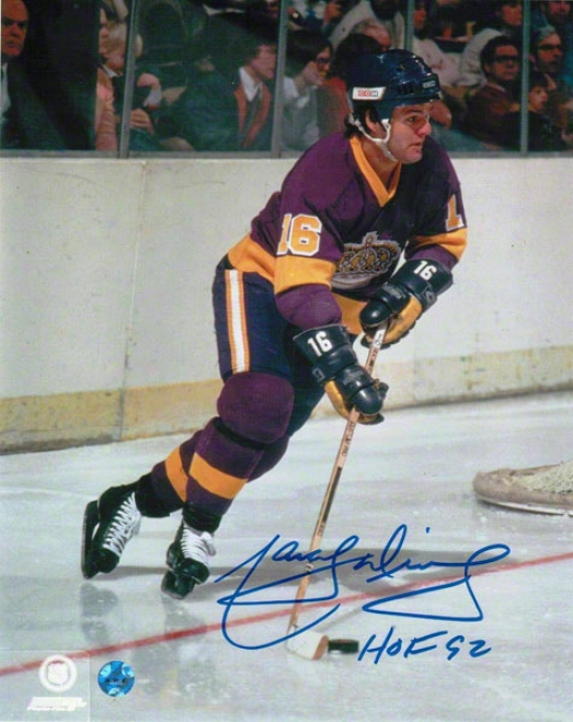 Marcel Dionne Los Angeles Kings Autographed 8x10 Photo Purple Jersey Inscribed Hof 92