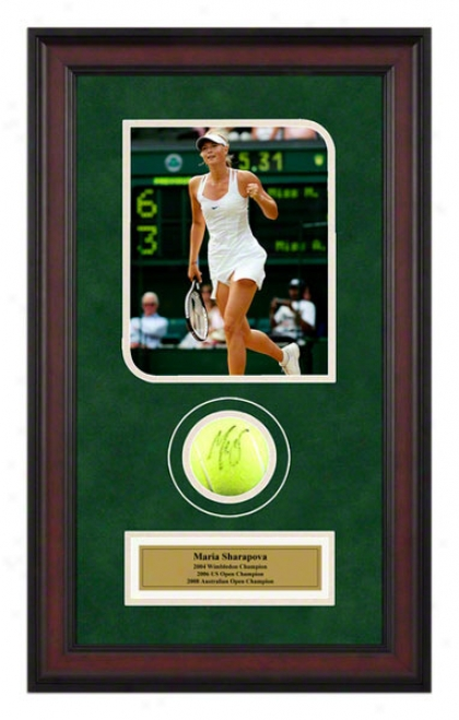 Maria Sharapova 2006 Wimbledon Framed Autographed Tennis Ball With Photo