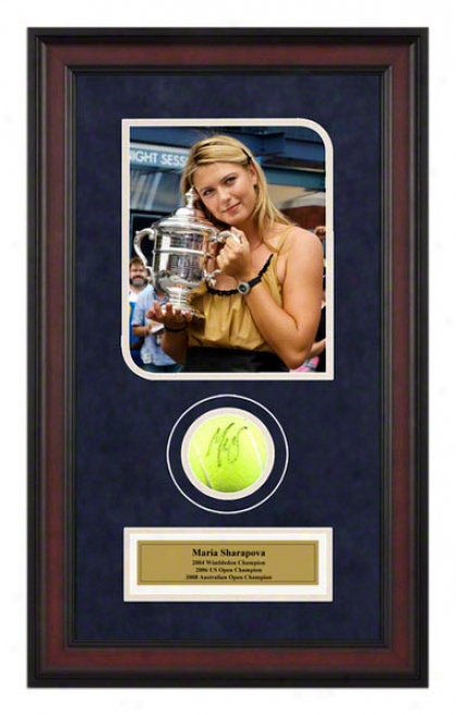 Maria Sharapova Srcond Grand Slam Win Framed Autographed Tennis Ball With Photo