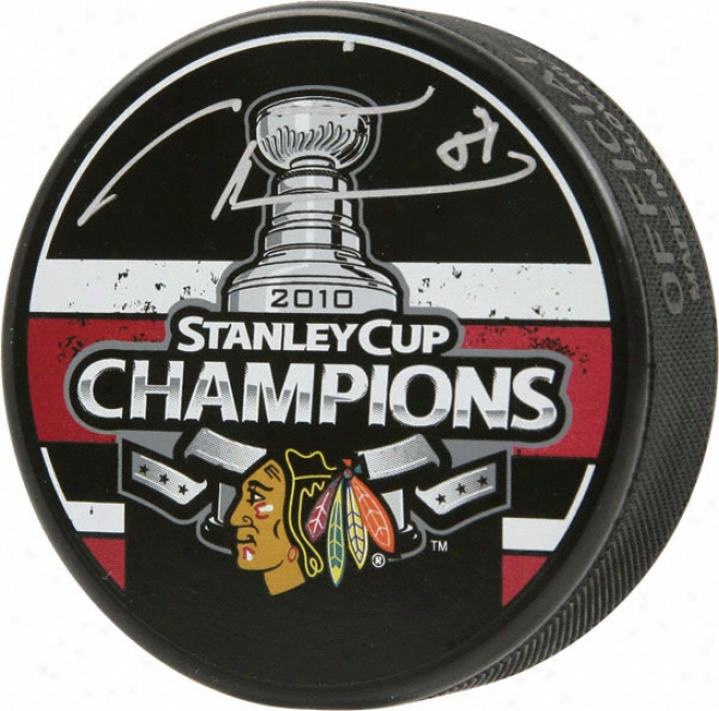 Marian Hossa Chicago Blackhawks Autographed 2010 Stanley Cup Champions Puck