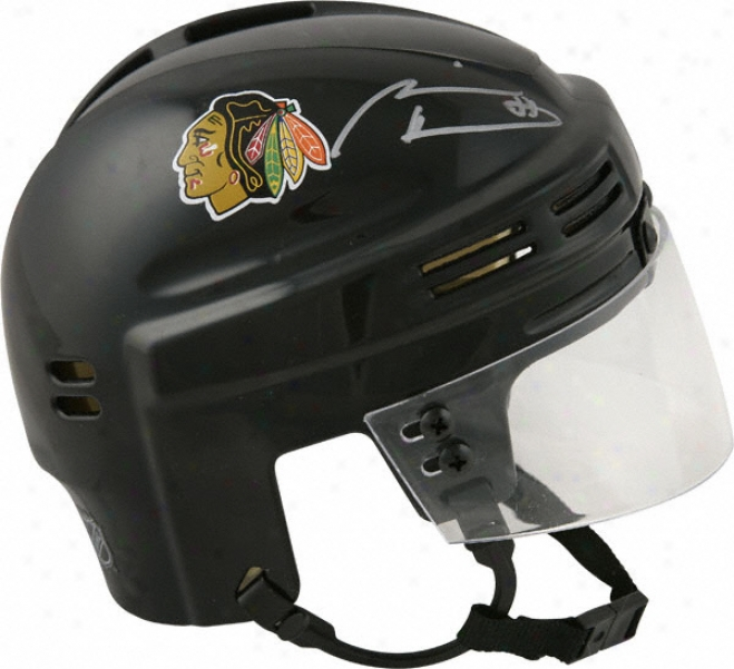 Marian Hossa Chicago Blackhawks Auyographed Black Mini Helmet