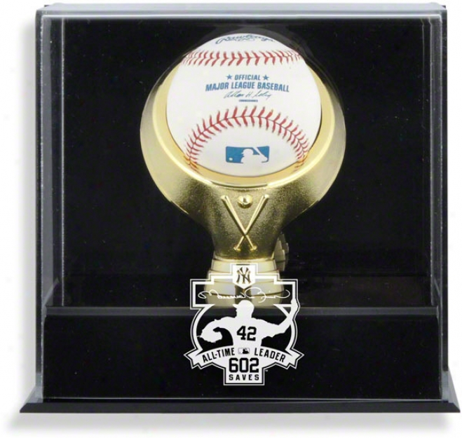 Mariano Rivera 602 All-time Saves Leader Wall Mounted Gold Ring Baseball Logo Display Case