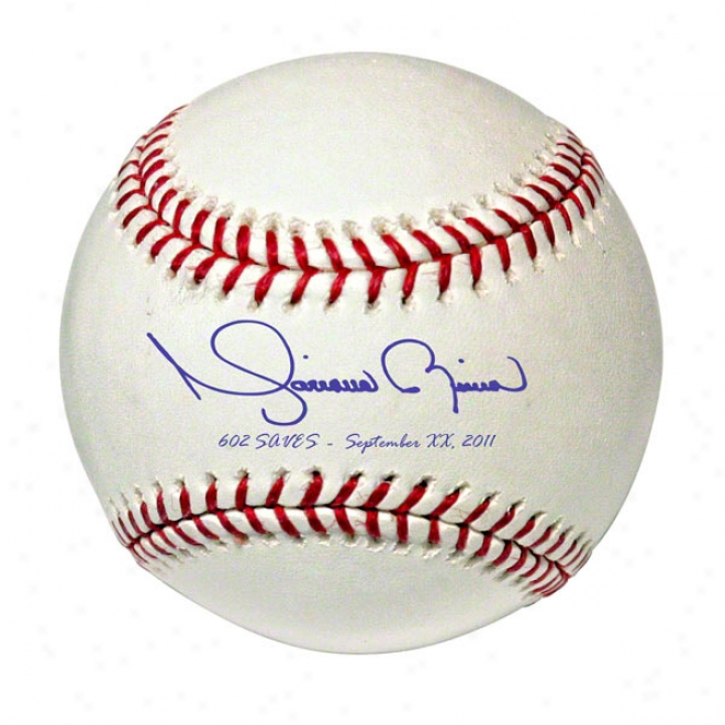 Mariano Rivera Autographed Mlb Baseball With 602 Saves And Date Inscription