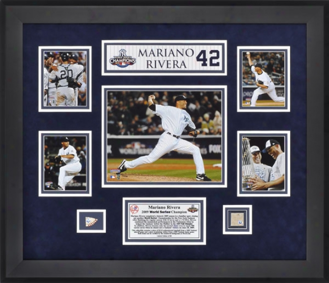 Mariano Rivera Framed 5-photograph Collage  Details: New York Yankees, With Made of ~ Used Pitching Rubber And Ball Pieces
