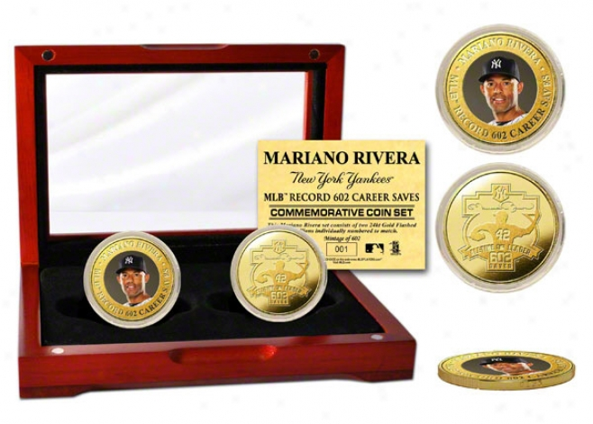 Mariano Rivera New York Ynakees All-time Saves Record 24kt Gold Coin Set