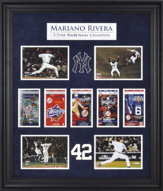 Mariano Rivera New York Yankees World Succession Champions Framed Collectoble With Five World Series Replica Tickets