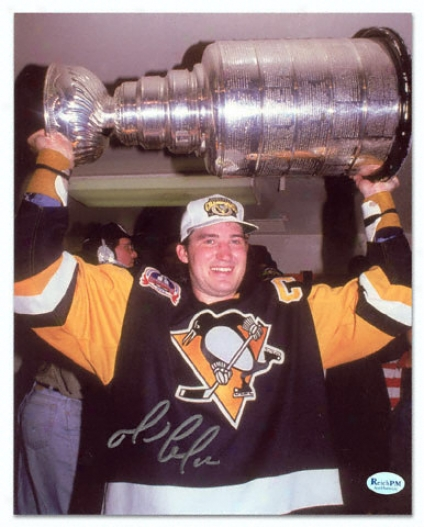 Mario Lemieux Pittsburgh Penguins - With Cup - Autographed 8x10 Photograph