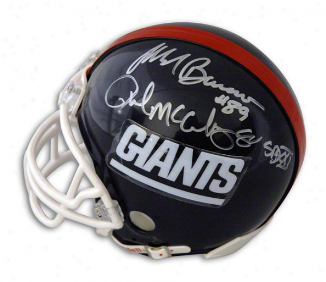 Mark Bavaro And Phil Mcconkey Dual Autographed New York Giants Mini Helmet