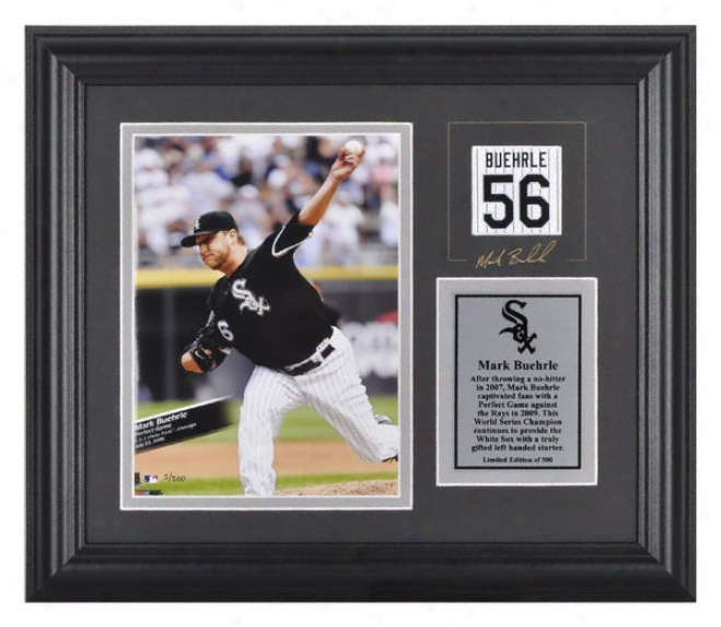 Marl Buehrle Chicago White Soxframed 6x8 Photograph With Facsimile Signature And Plate