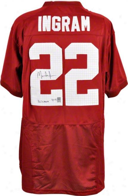 Mark Ingram Autographed Jersey  Details: Alabama Crimson Tide, Combat Crimson, Inscription &quotheisman 09&quot