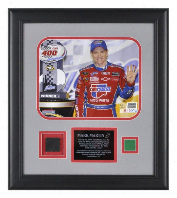 Mark Martin 2009 Lifelock 400 Framed 8x10 Photograph With Green Flag, Autograph Plate And Race Winning Tire - Le Of 105