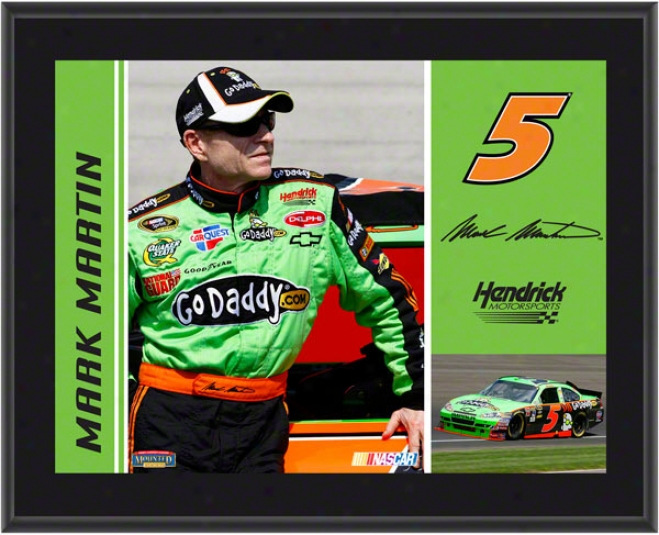 Mark Martin Plaque  Details: #5 Goaddy.com Car, Hendrick Motorsports, Sublimated, 10x13, Nascar Plaque