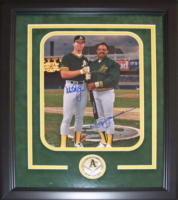 Mark Mcgwire And Reggie Jackson Oakland Athletics Dual Autographed 8x10 Custom Framed Photograph With T3am Medallion