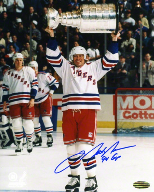 Mark Messier Autographed Photograph  Details: New York Rangers, Holding Stanley Cup, 94 Cup Inscription, 8x10