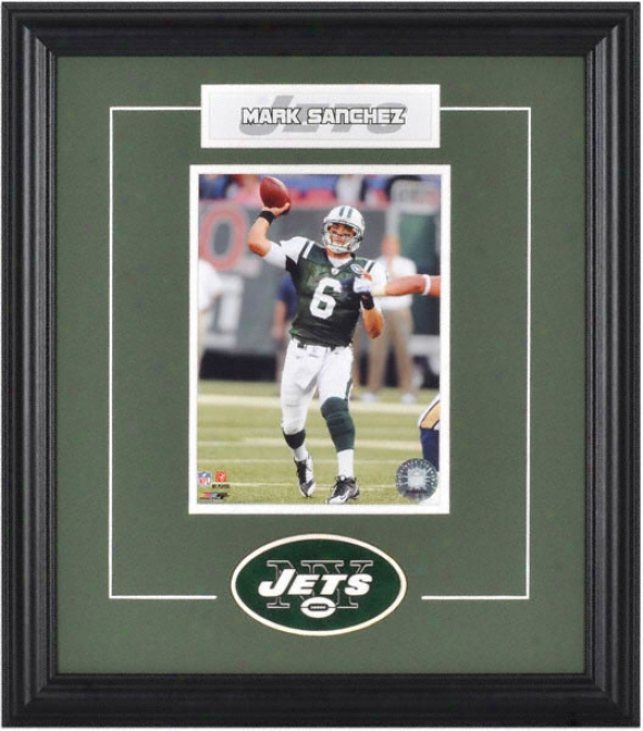 Mark Sanchez Framed 6x8 Phototraph With Team Logo & Plate