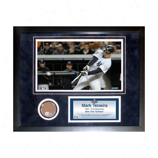 Mark Teixeira New York Yanees 11x14 Framed Collage With Game Used Dirt, Photo & Nameplate